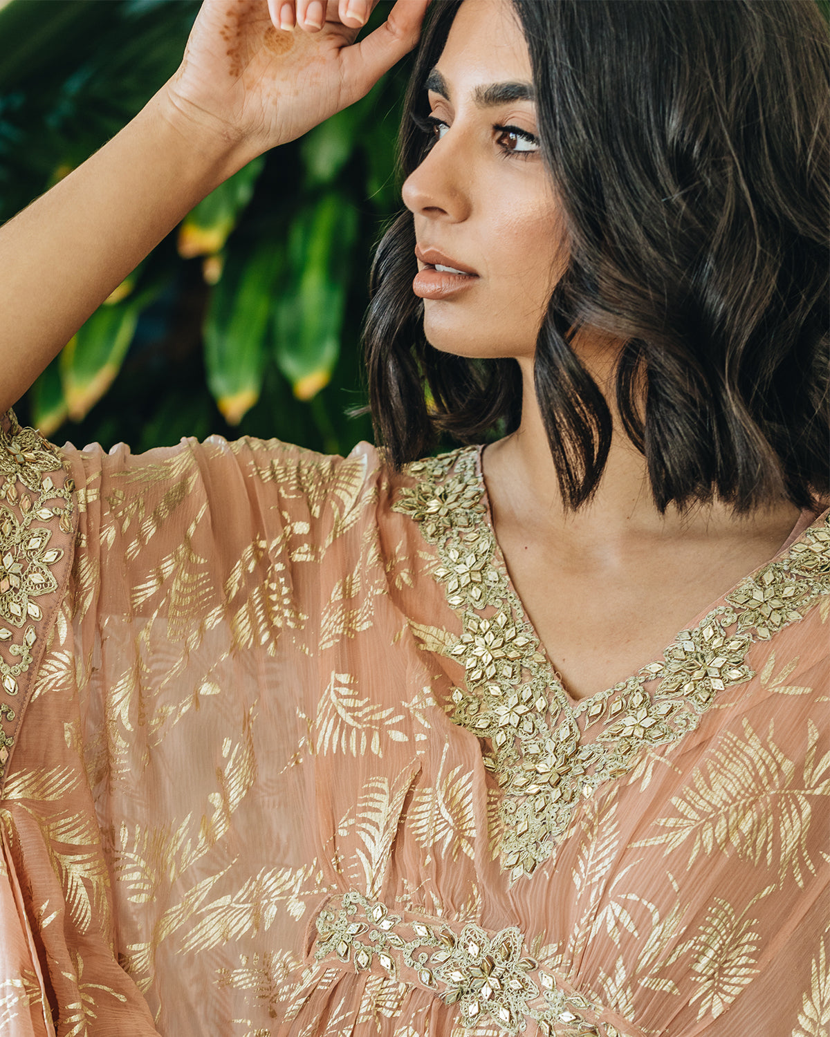 Pink Chiffon Kaftan with gold foil leaves