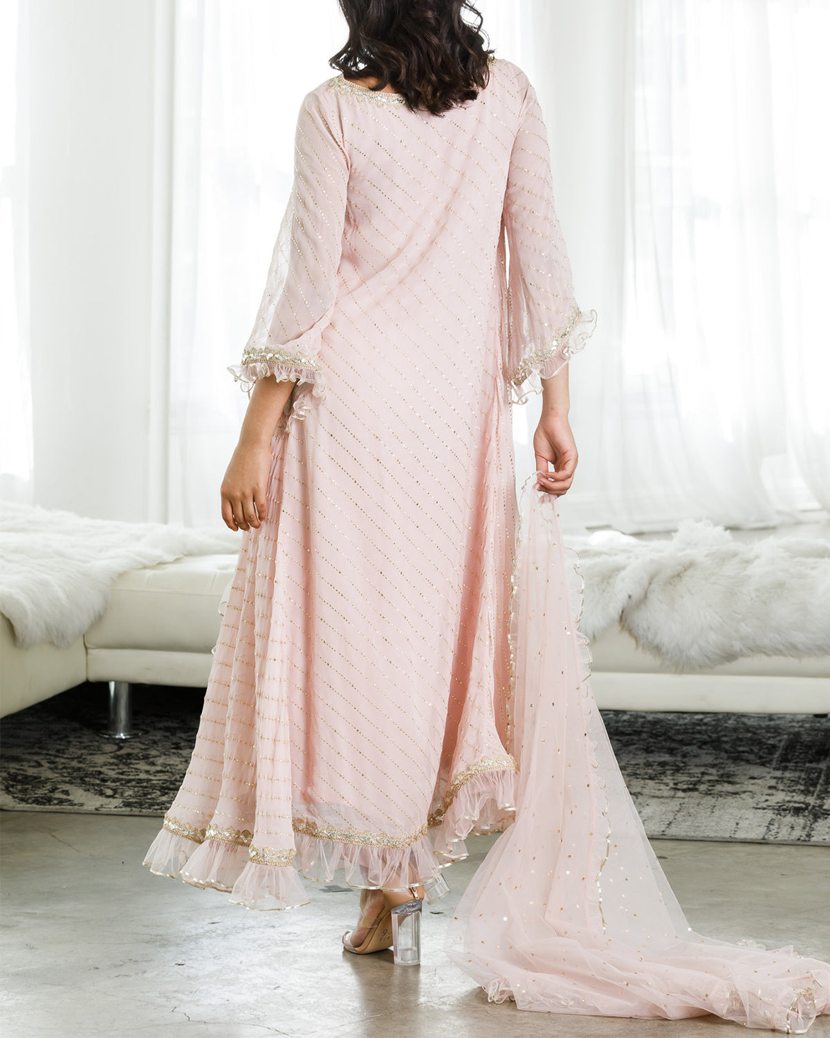 Powder Pink and Gold Kurta