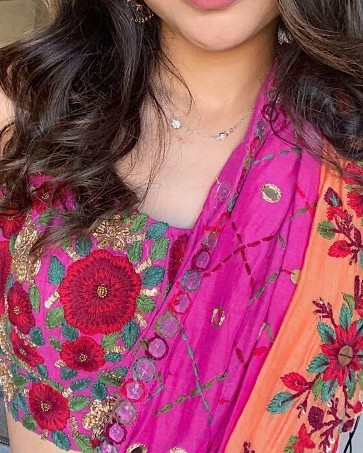 bright floral embroidered sari