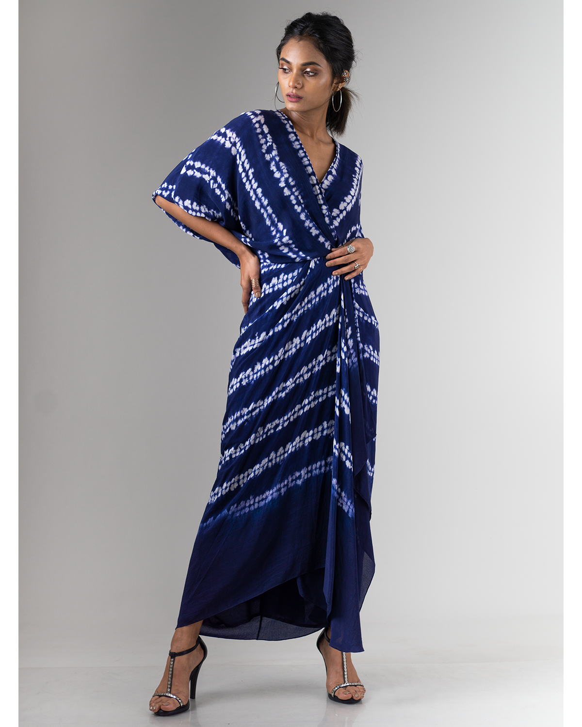 Blue Almond Shibori Wrap Dress