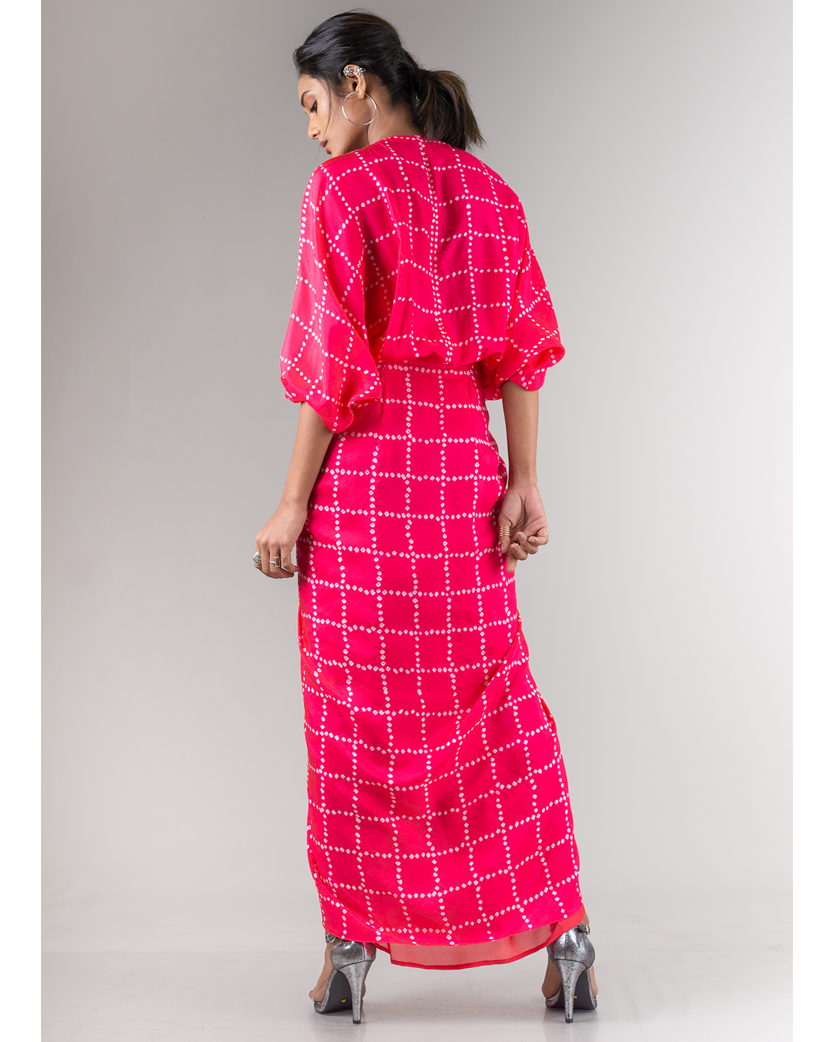 Coral Bandhani Wrap Dress