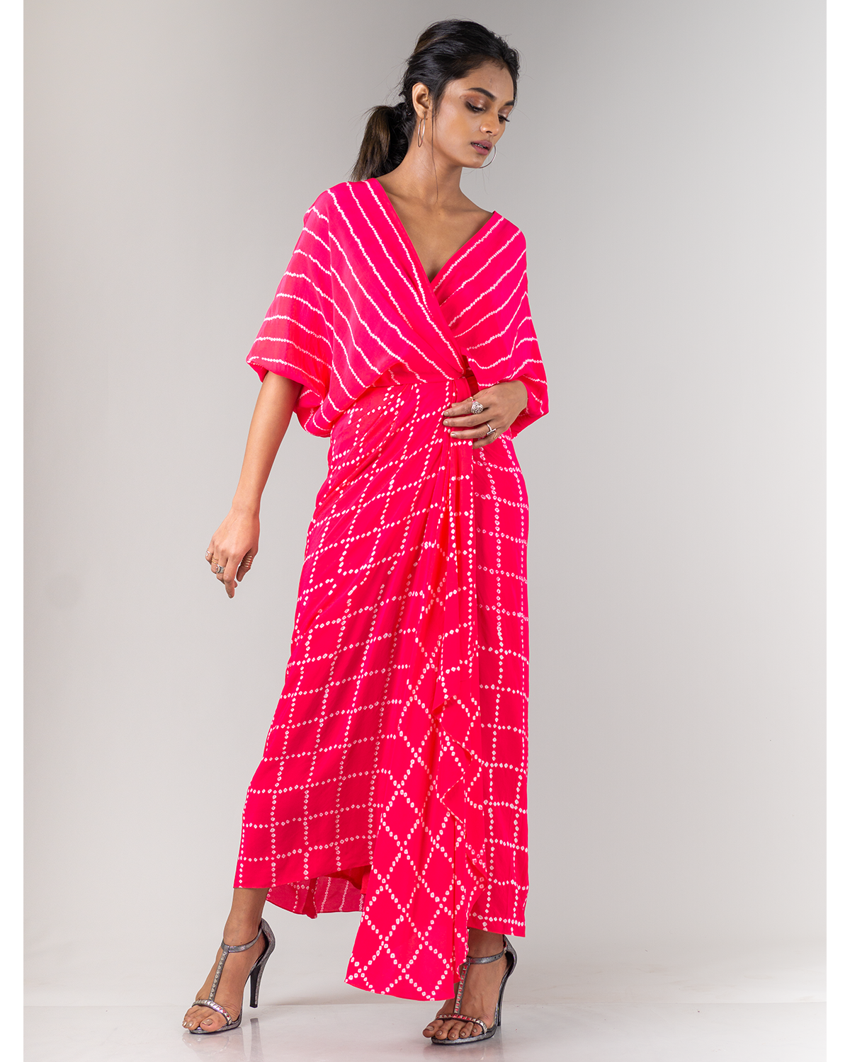 Coral Checkered Bandhani Wrap Dress
