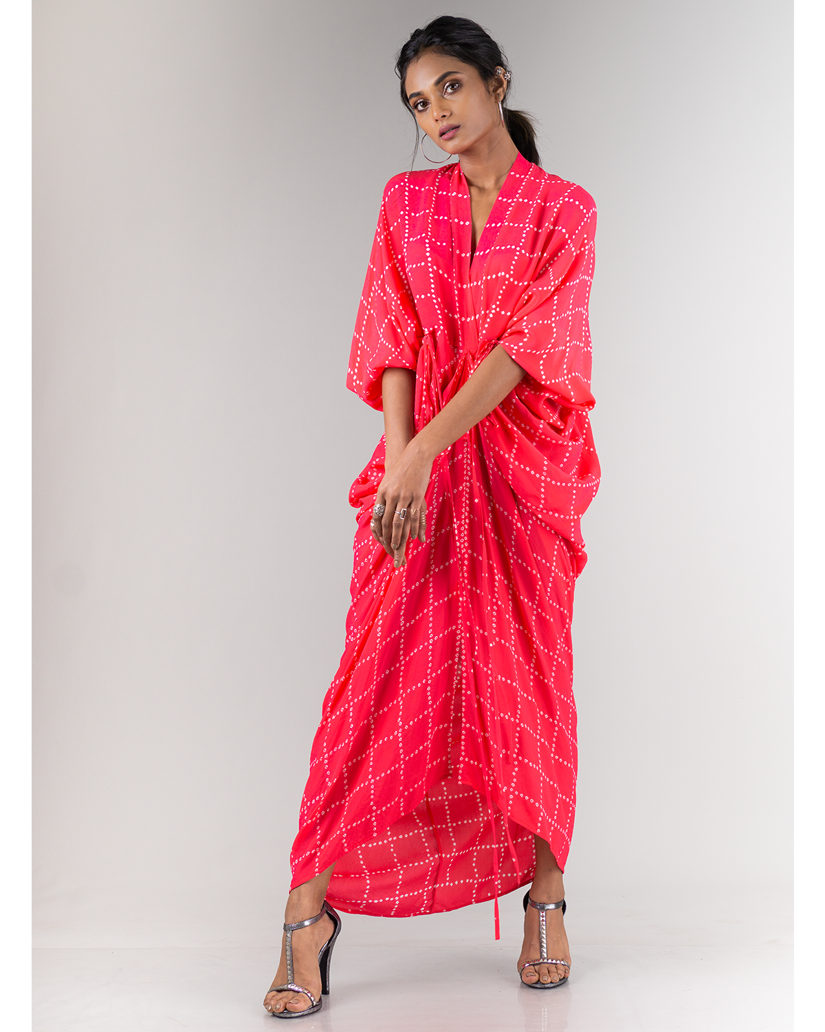 Coral Bandhani Kite Dress