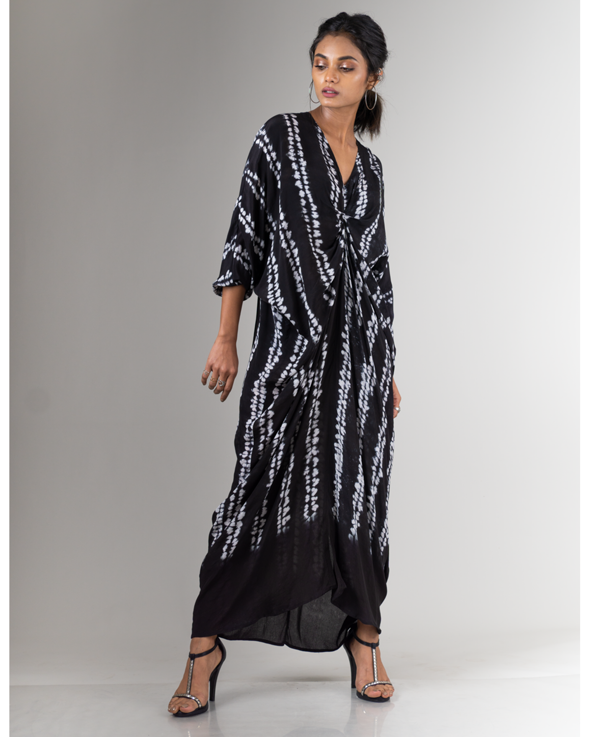 Sleek Black Shibori Dress