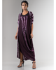 Plum Shibori Draped Dress and Jacket Set
