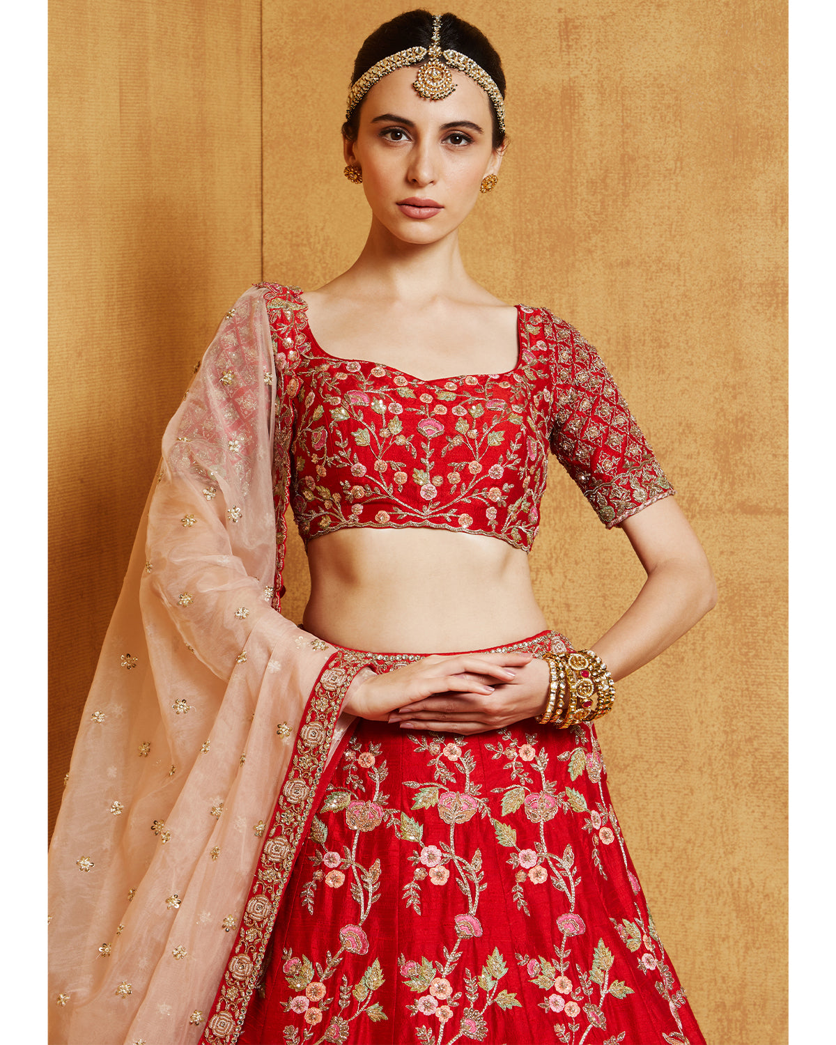 Red Peacock Lehenga