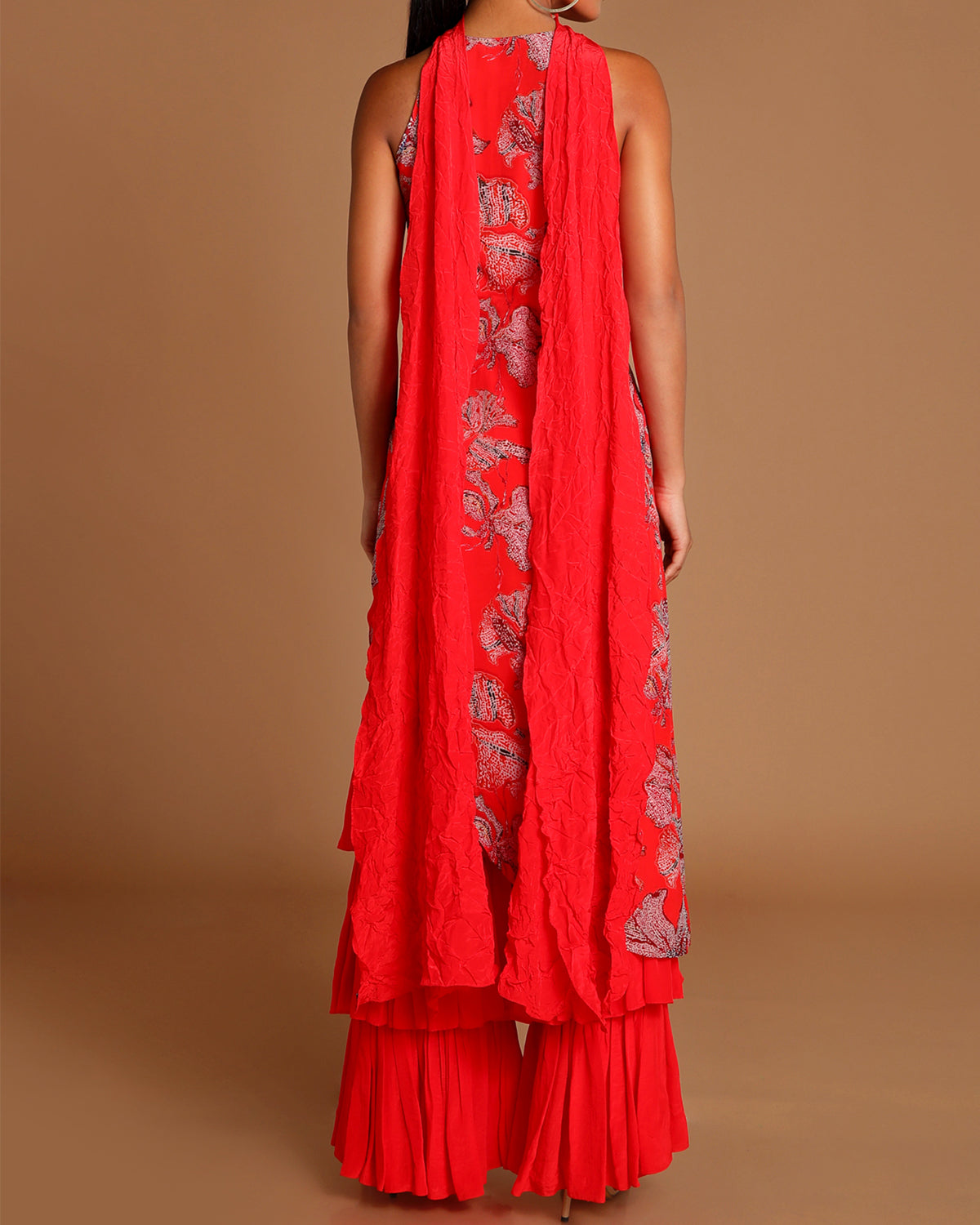 red wildflower tunic with sharara
