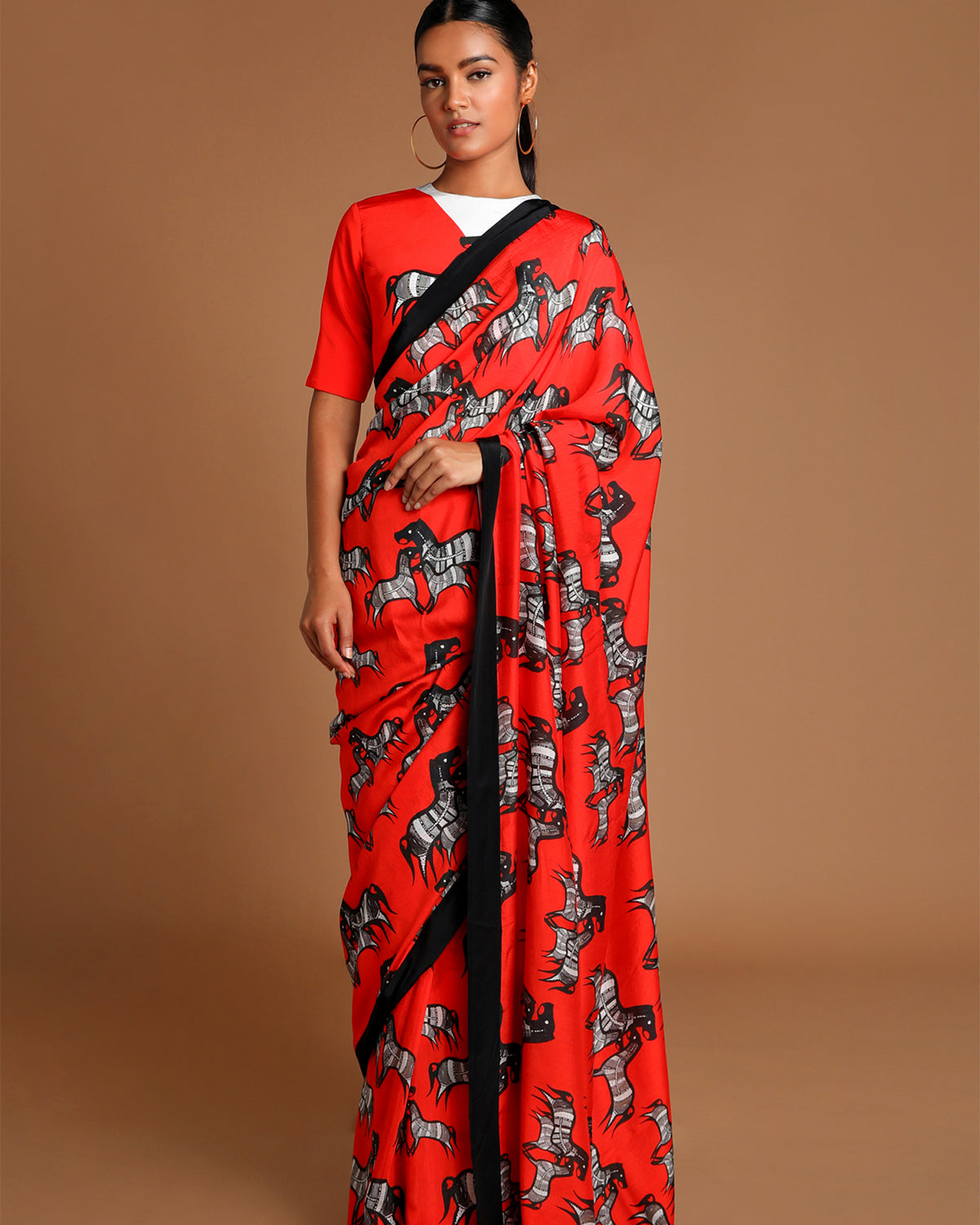 Red and White Horse Print Sari