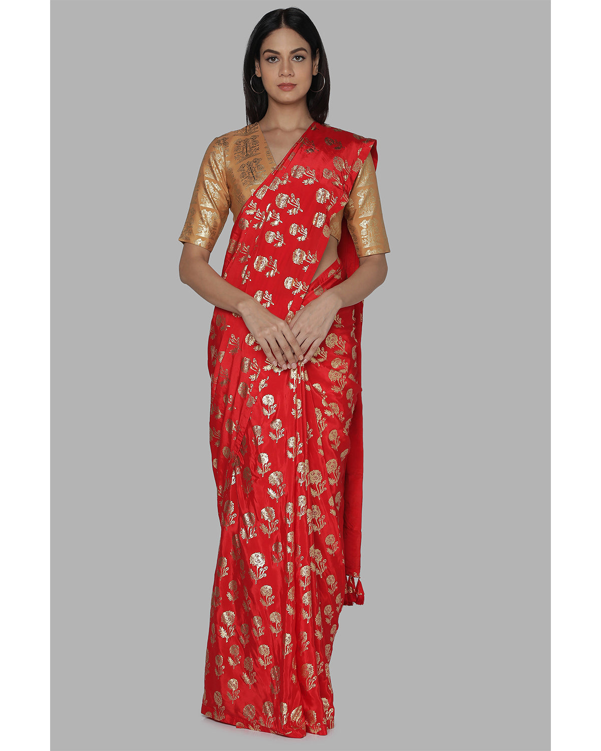 Red and Orange Printed Crepe Sari