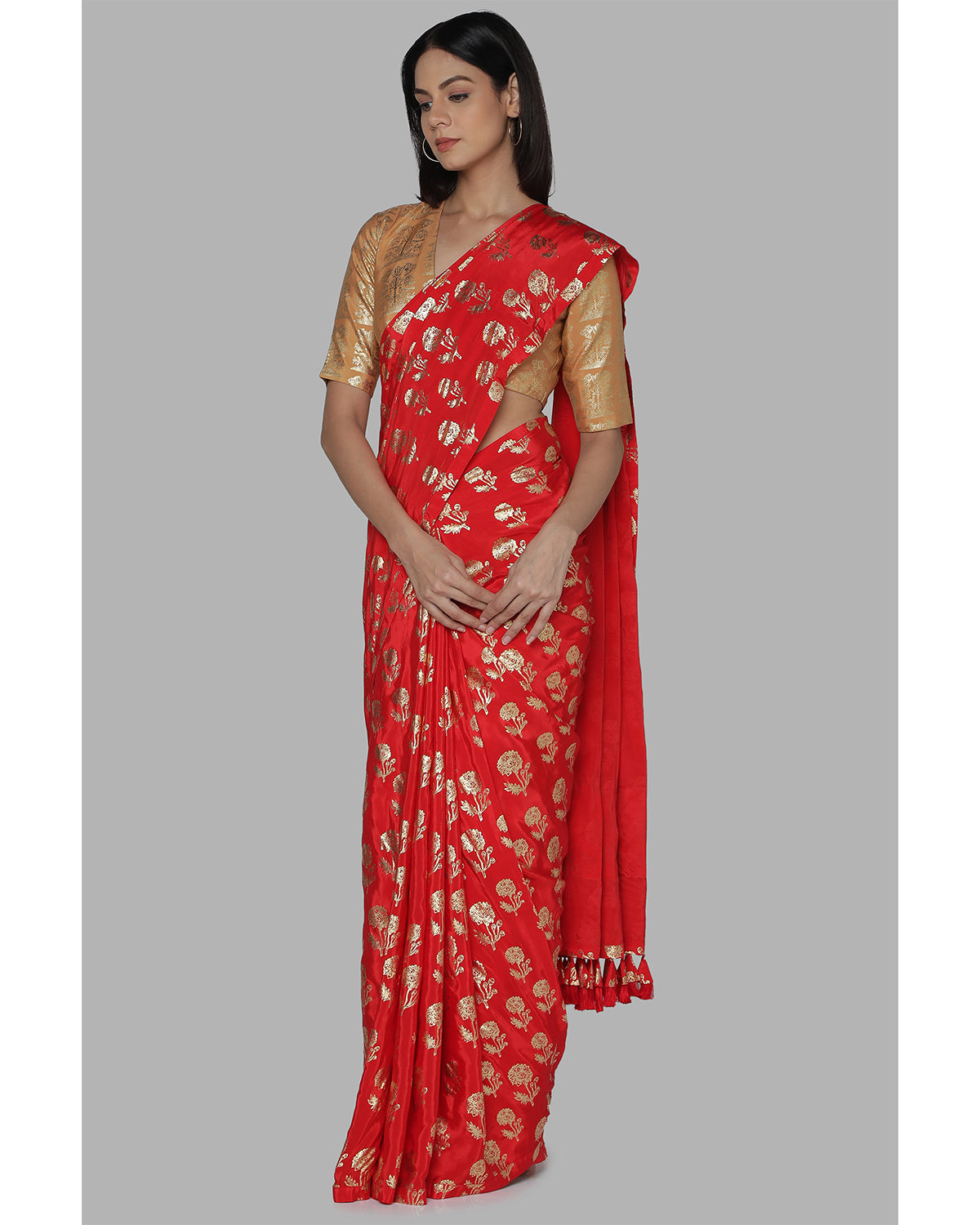 Red Printed Crepe Sari