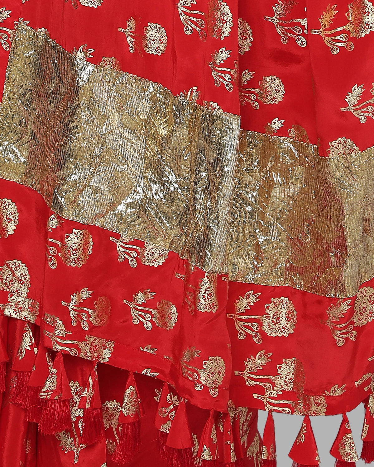 Red Bird Marigold Foil Sari | House of Masaba