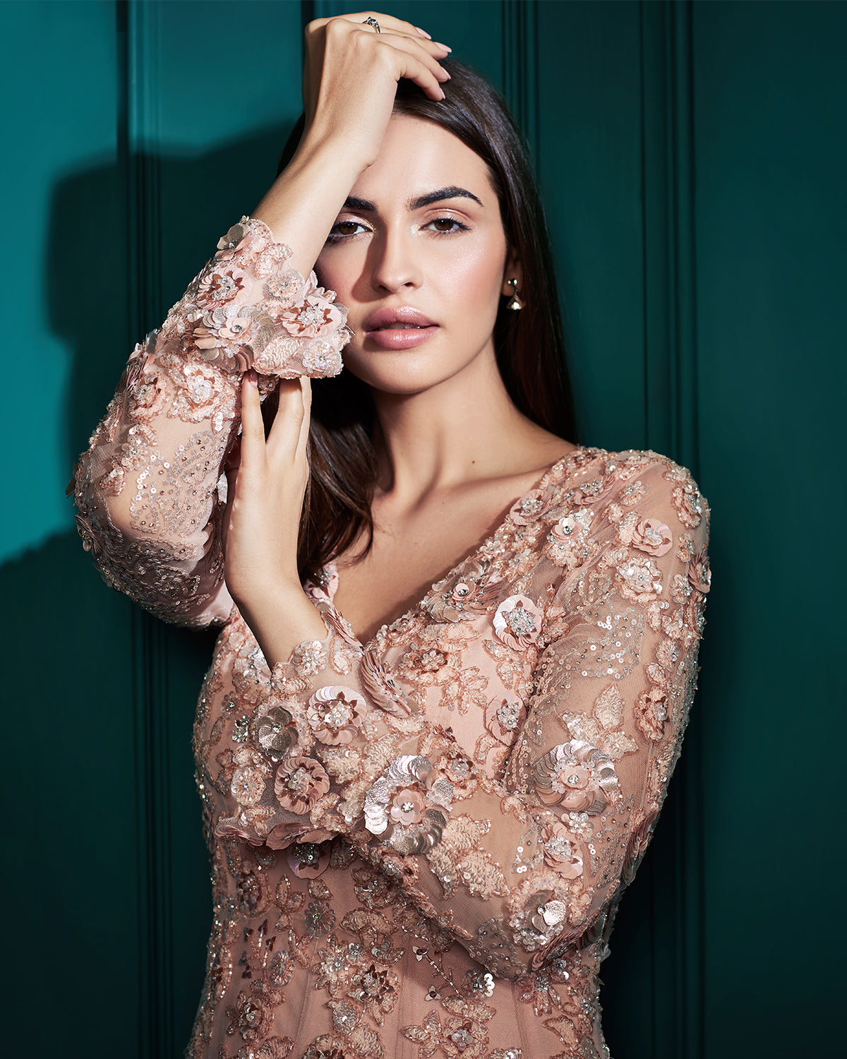 embellished peach gown with swarovskis