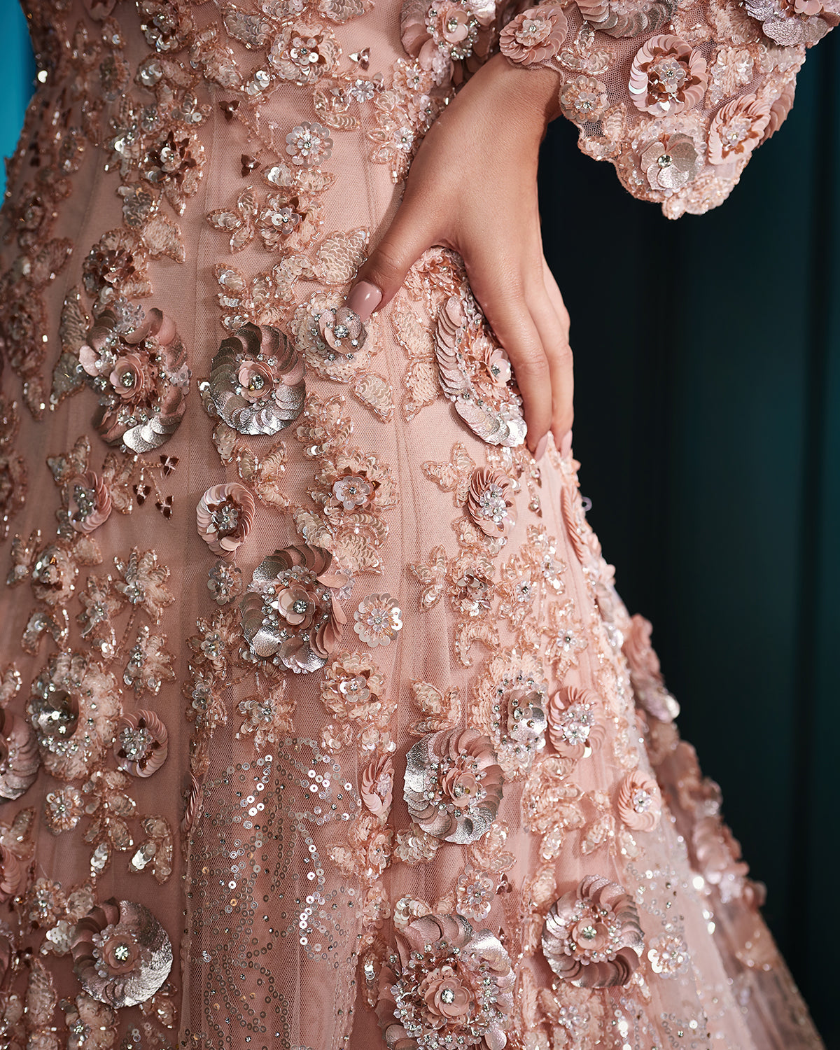 frosted peach full sleeve gown