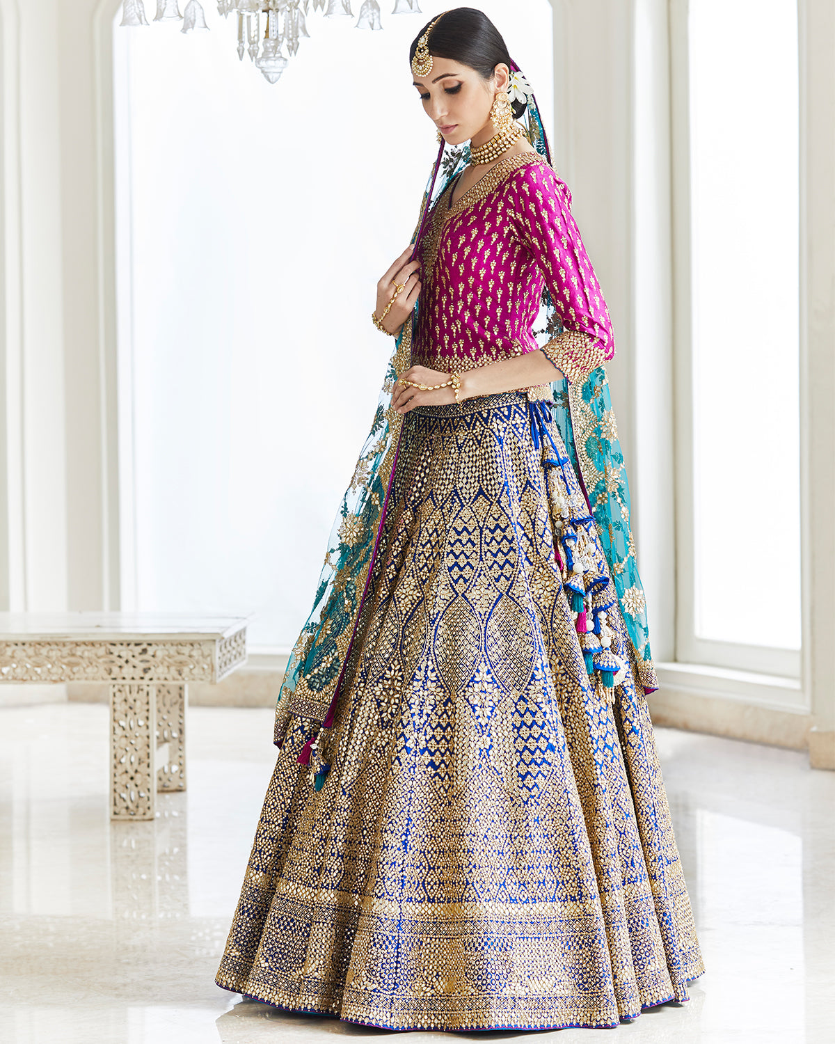 purple and blue traditional lehenga