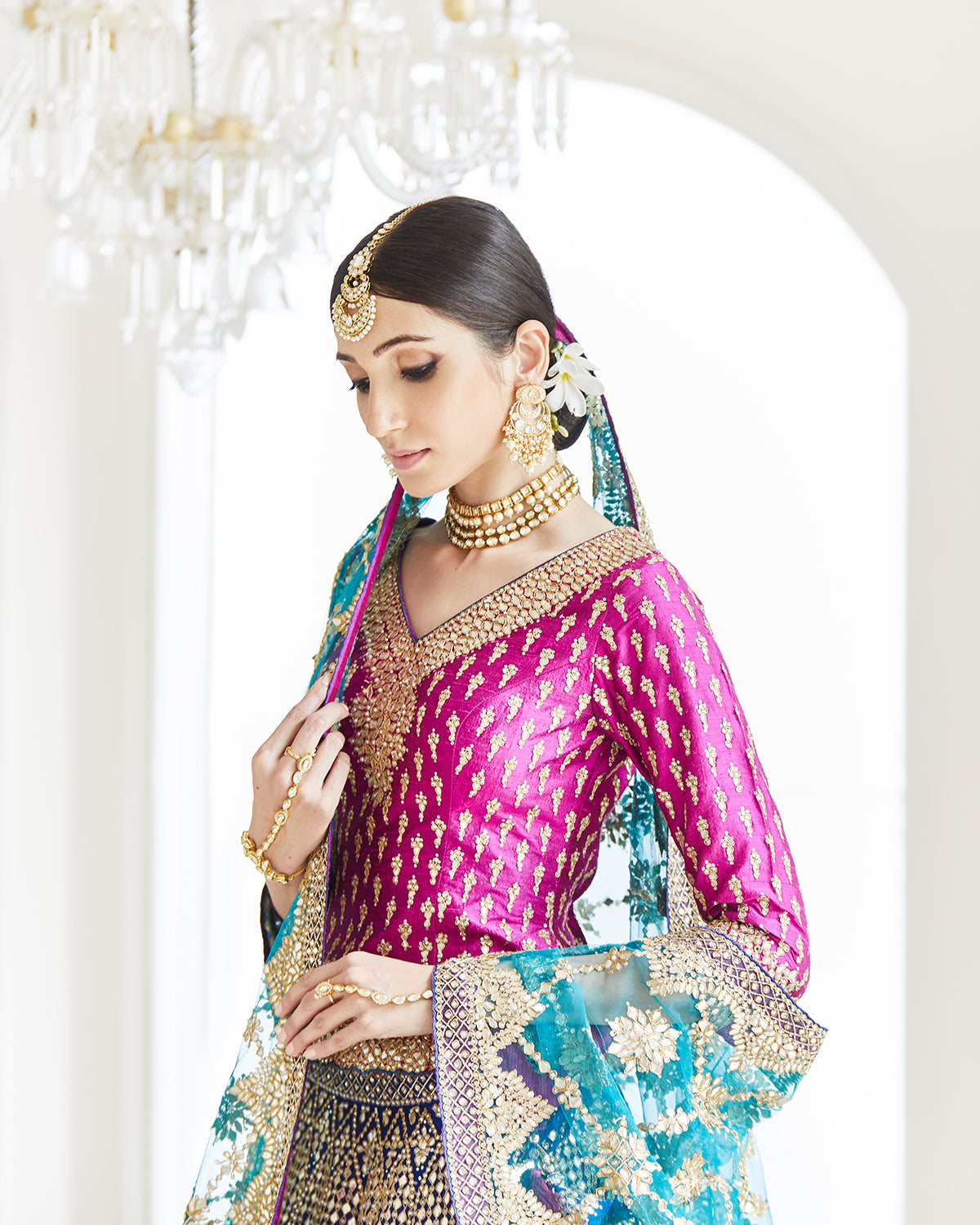 multi-colored traditional lehenga