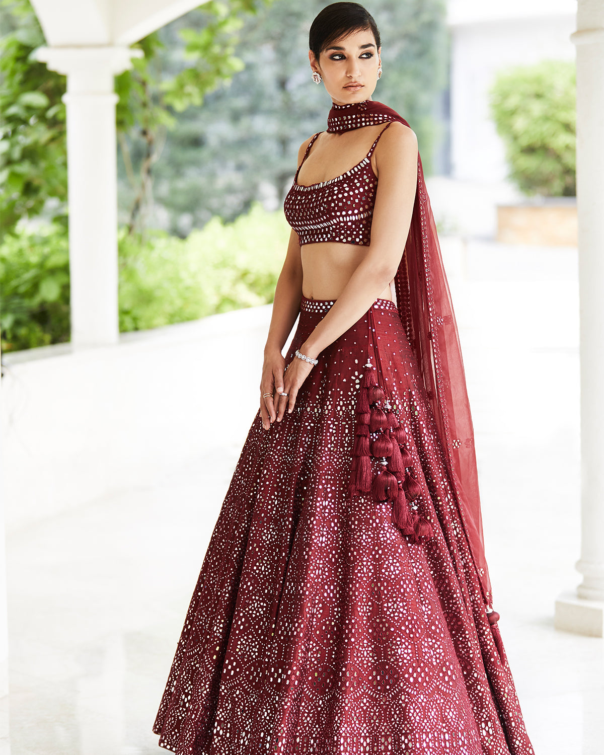 Wine mirror bridal lehenga