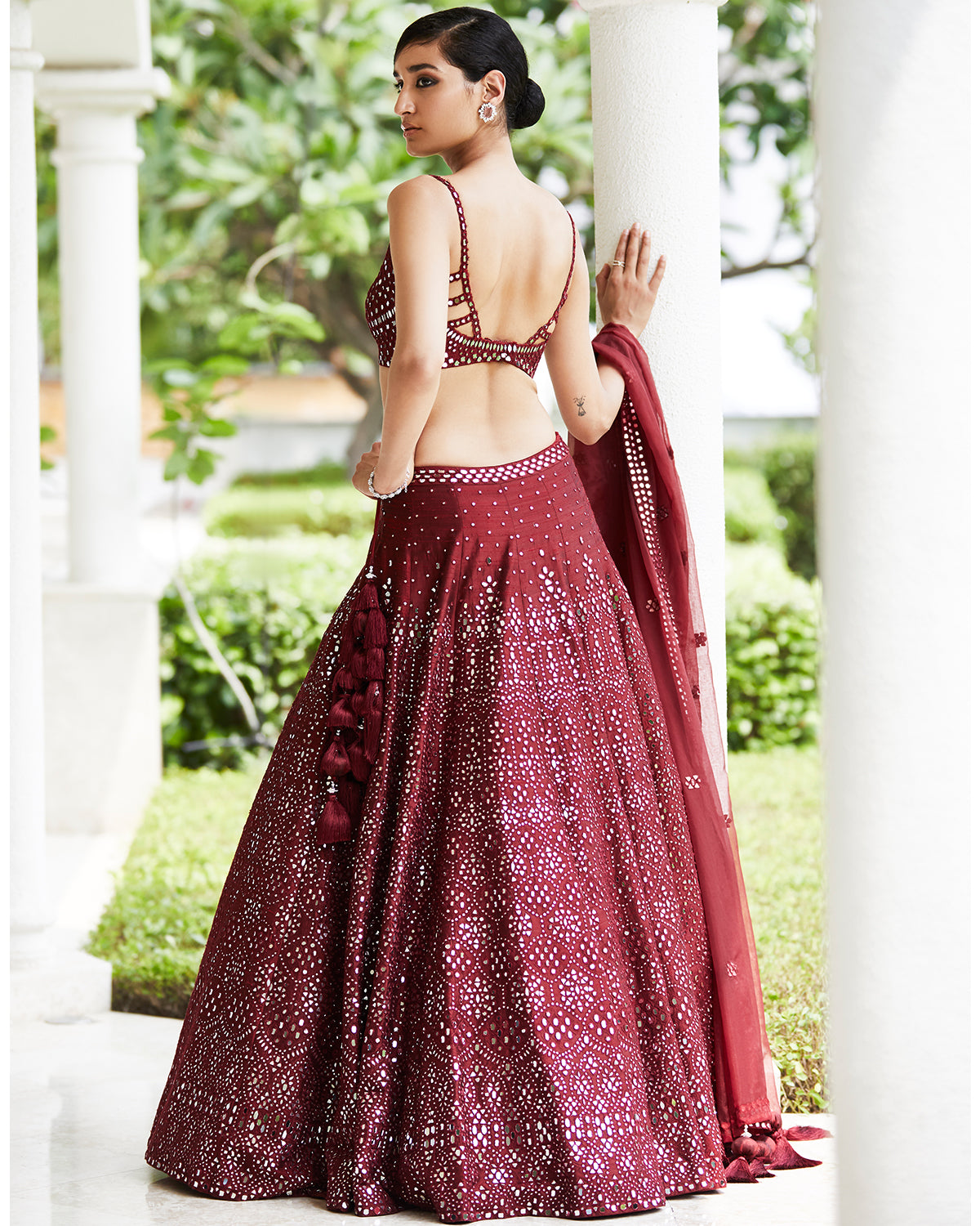 Red wine mirror lehenga