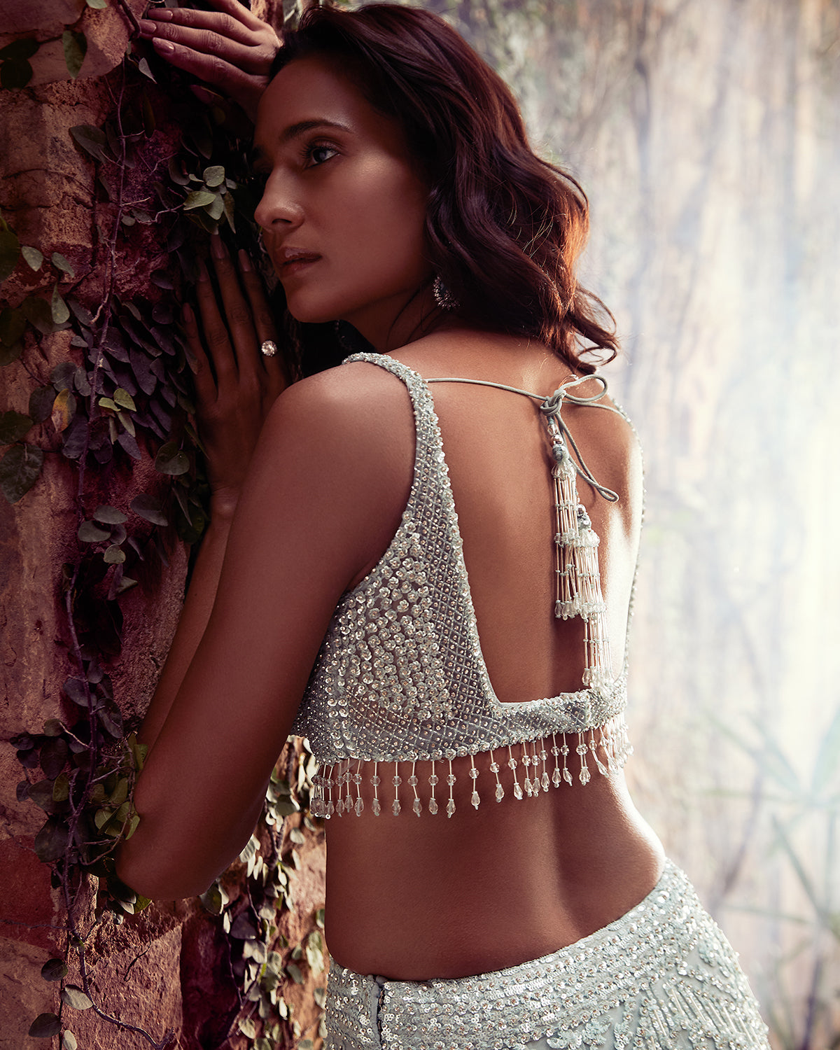 Pastel lehenga with sequins and pearls