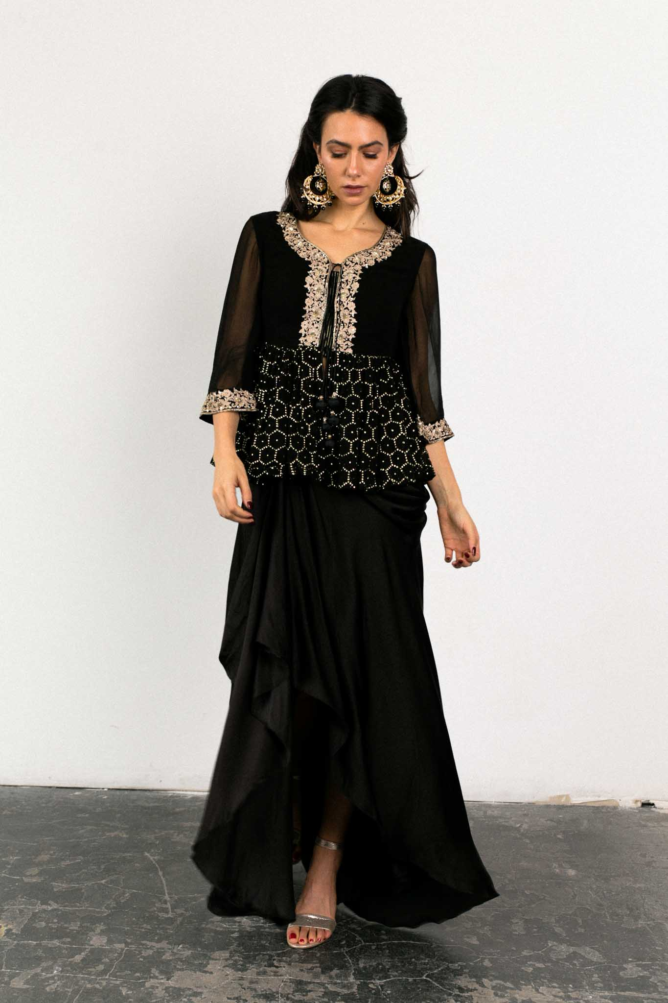 Black Peplum Lehenga | Ready to Ship