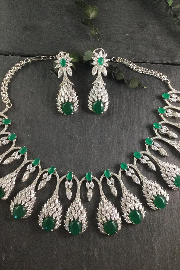Emerald Peacock Tikka & Earrings Set