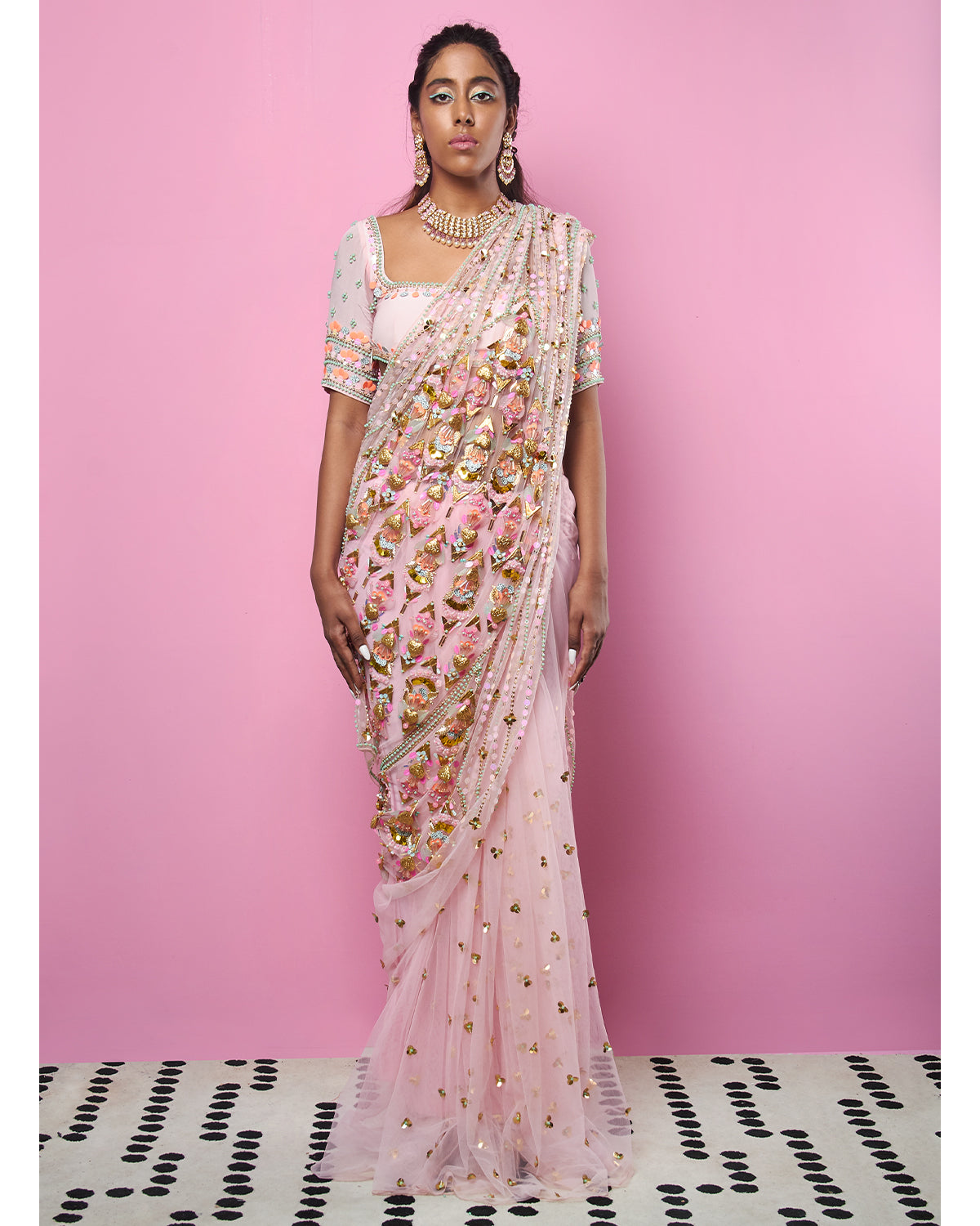 Blush Pink Pre-stitched Sari | Papa Don't Preach