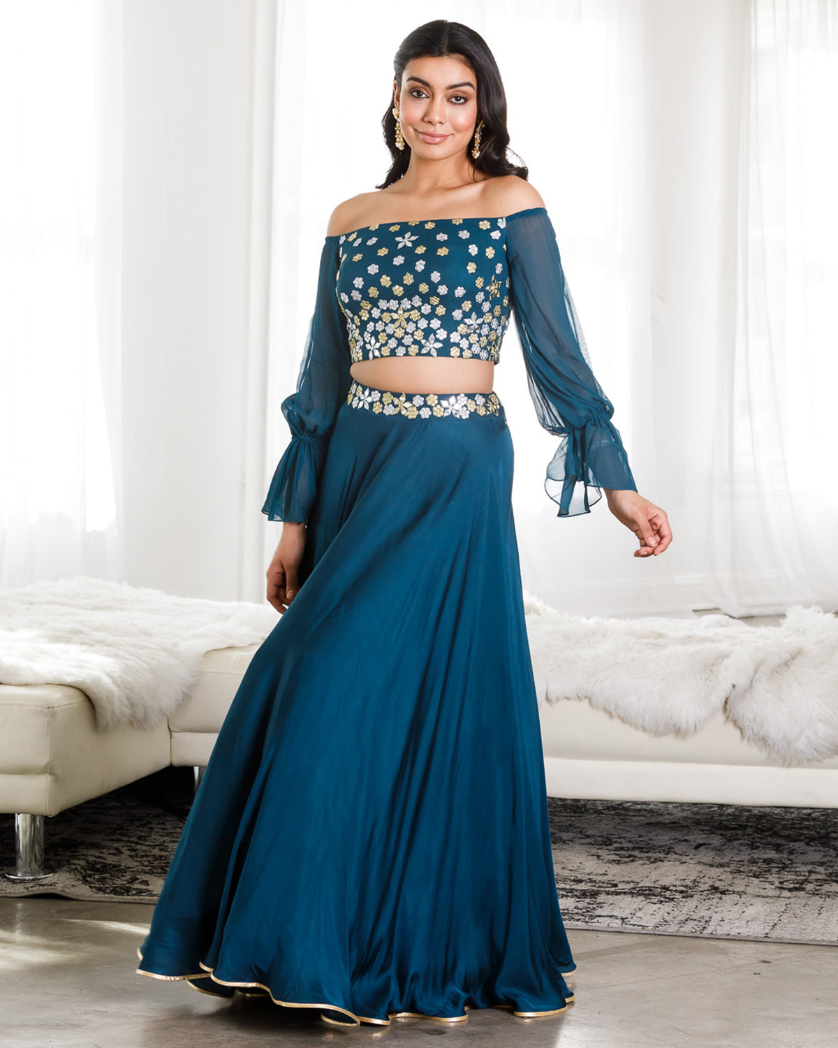 teal off the shoulder lehenga