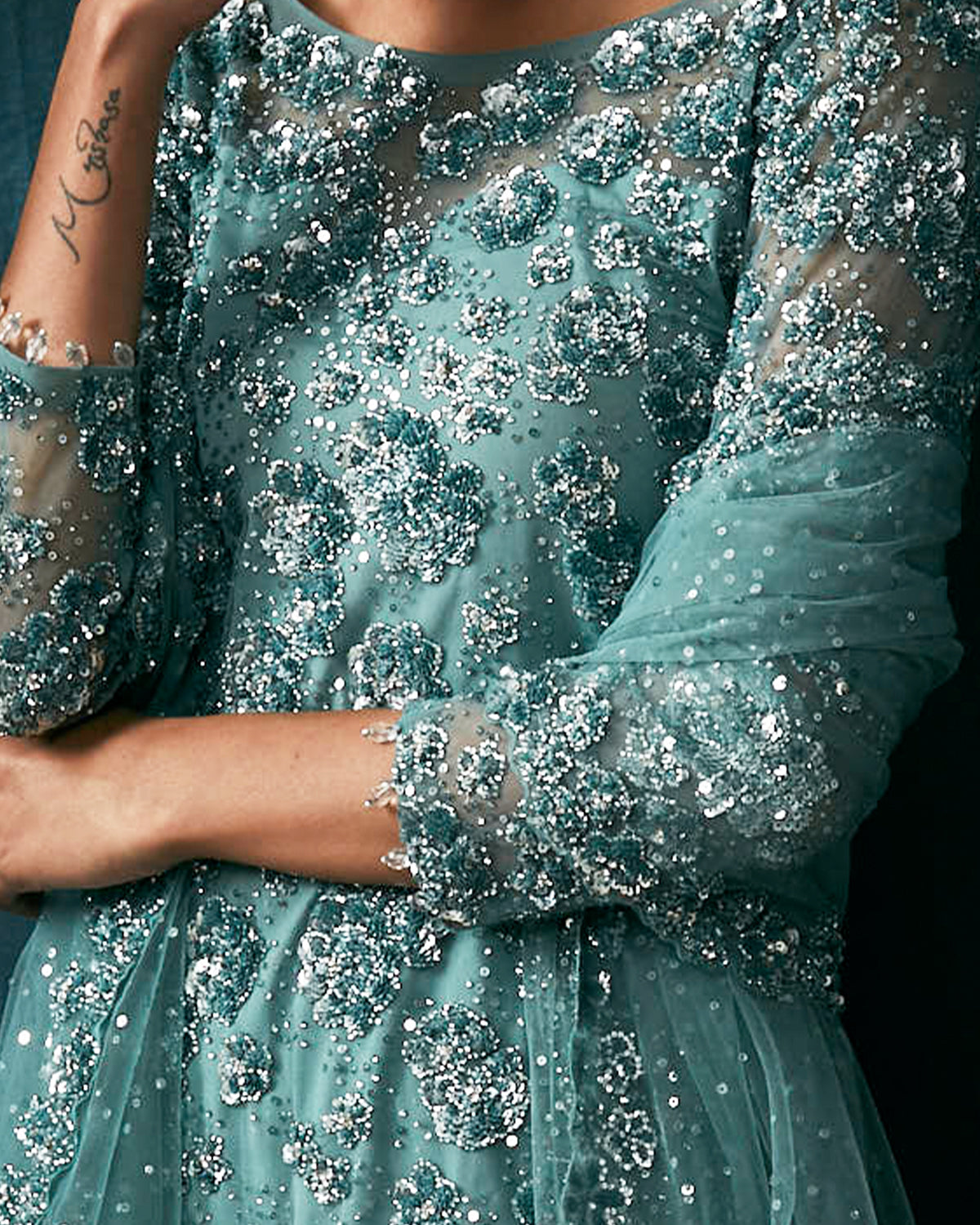 teal sequined sharara outfit