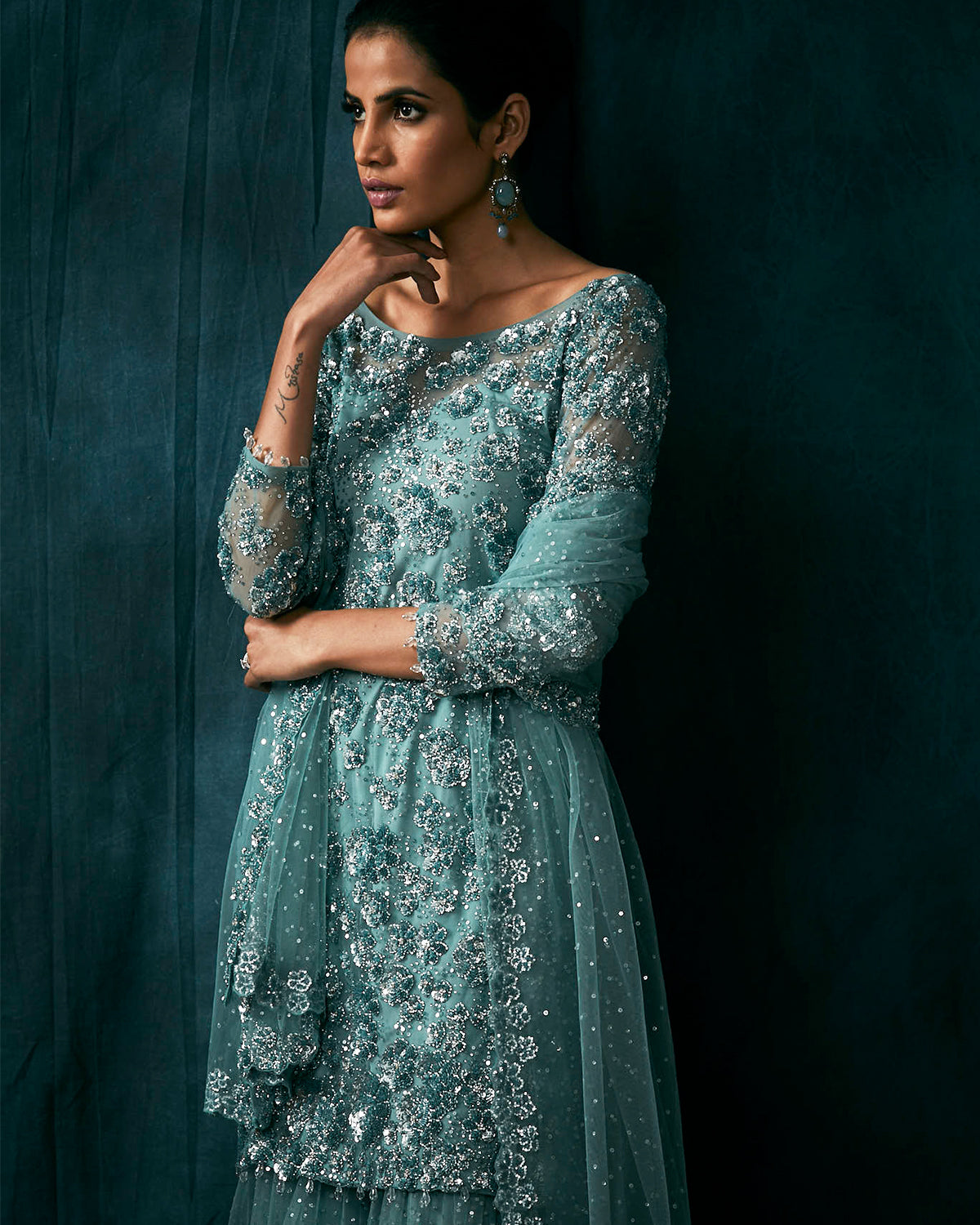 beaded sharara teal outfit