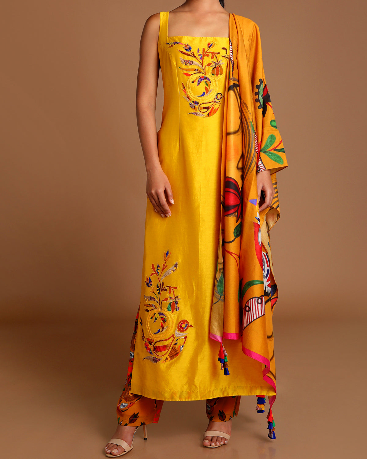 Mustard Applique and Printed Outfit
