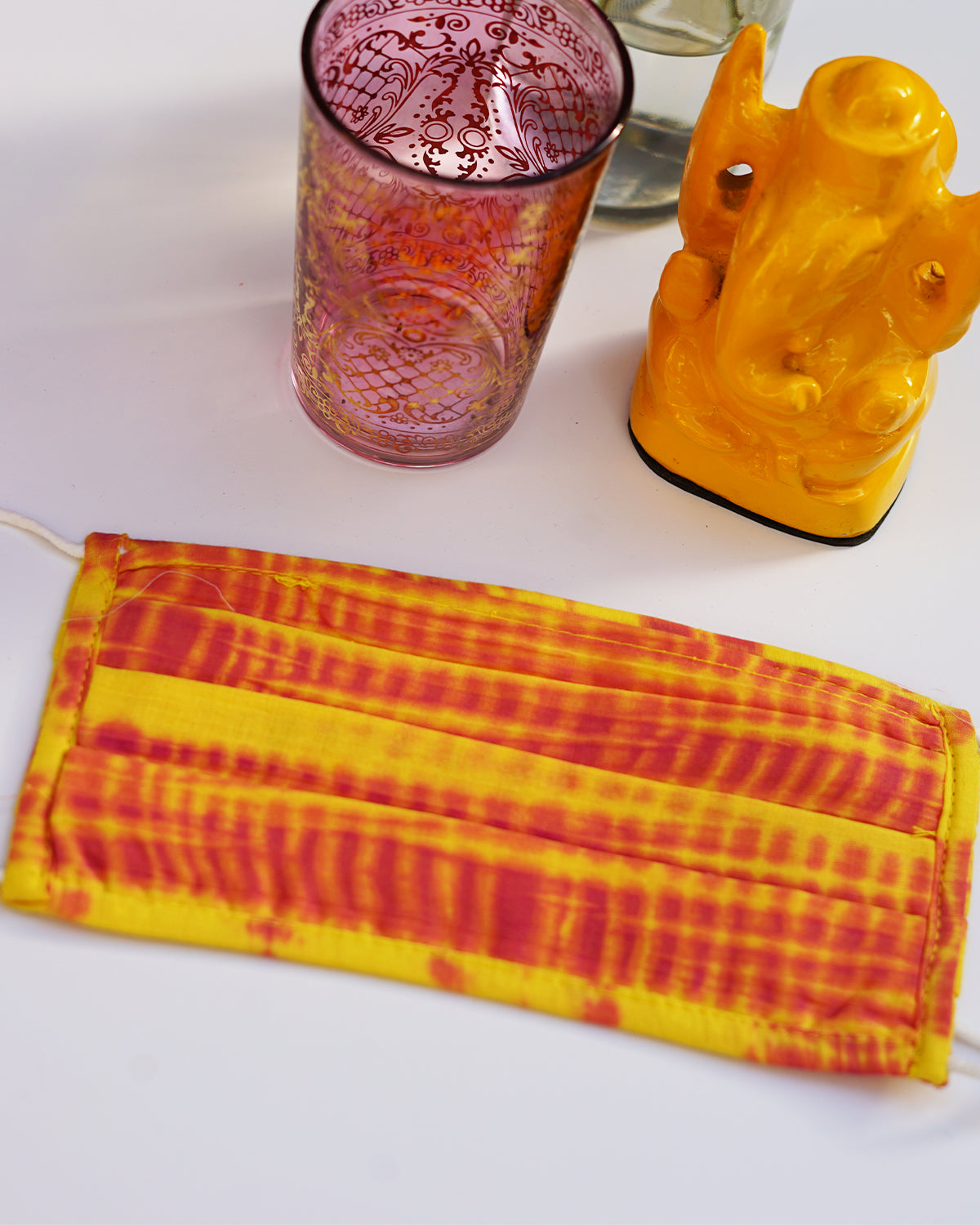 Yellow & Pink Shibori Mask