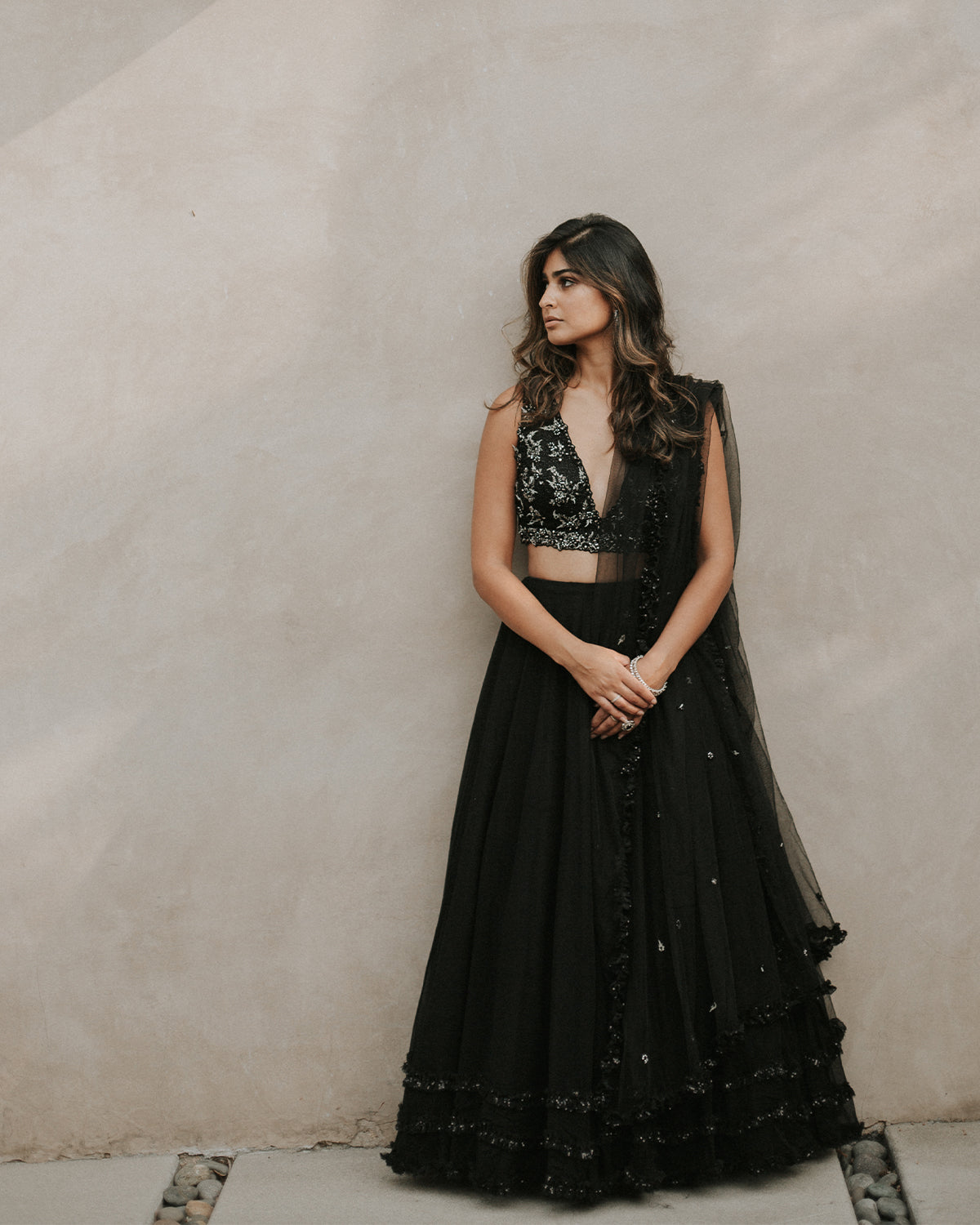sleek black lehenga