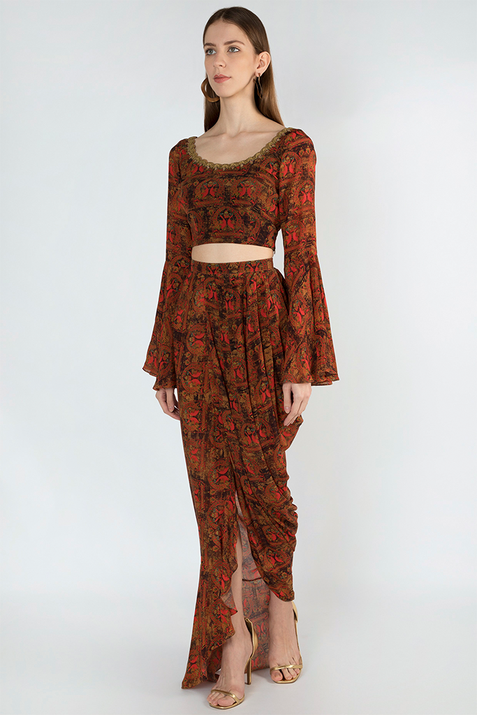Brown Printed Crop Top and Drape Skirt | KYNAH x Masaba