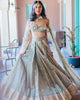 Olive Green Off Shoulder Lehenga