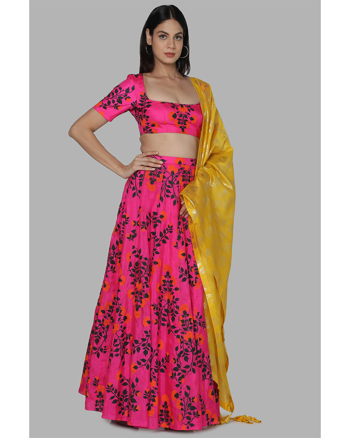 Hot Pink Floral Bloom Lehenga