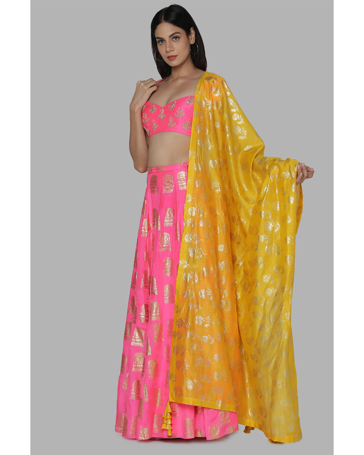 Candy Pink Embroidered Lehenga Set