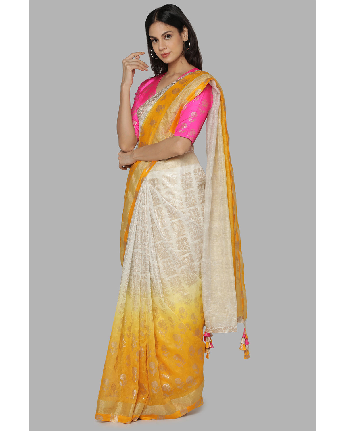 Ivory Marigold Bunch of Birds Sari
