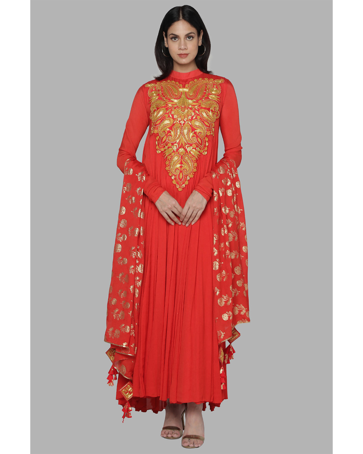 Red embroidered chiffon anarkali