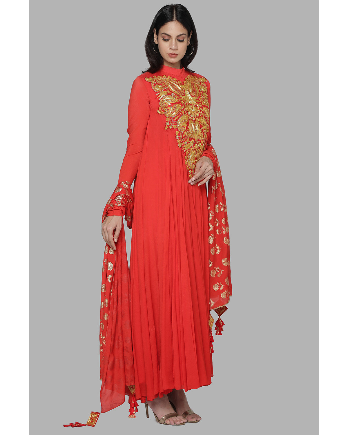 red and gold chiffon anarkali set