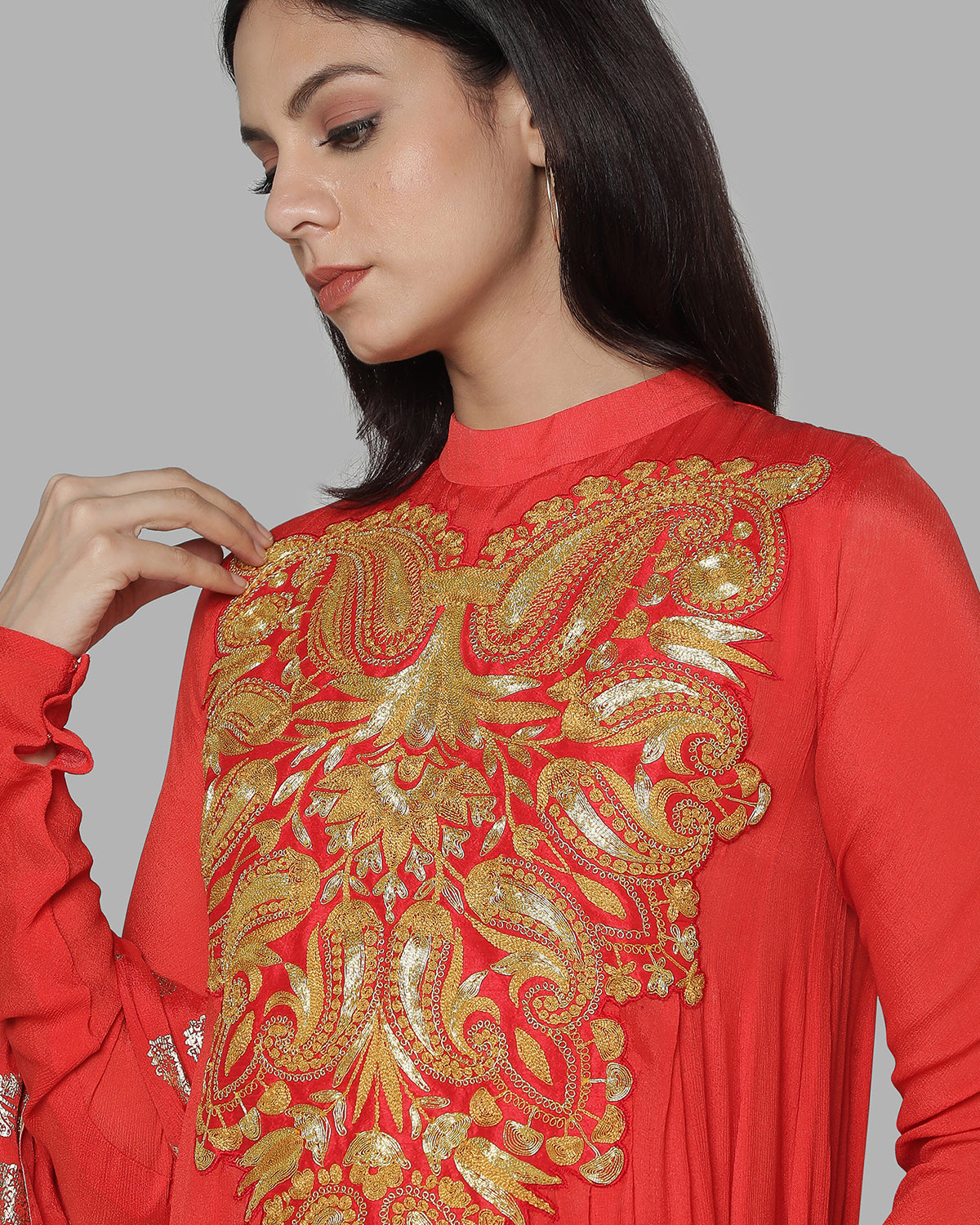 red and gold anarkali set
