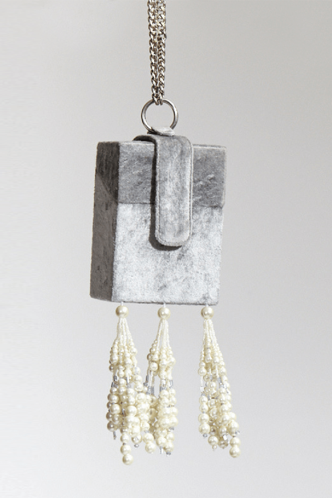 Pearl Gray Tassle Box Purse | The Right Sided x KYNAH