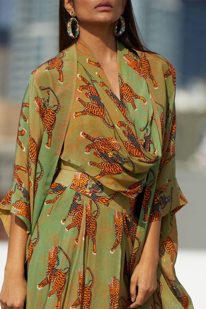 Tiger Print Tan and Green Outfit | KYNAH x Masaba
