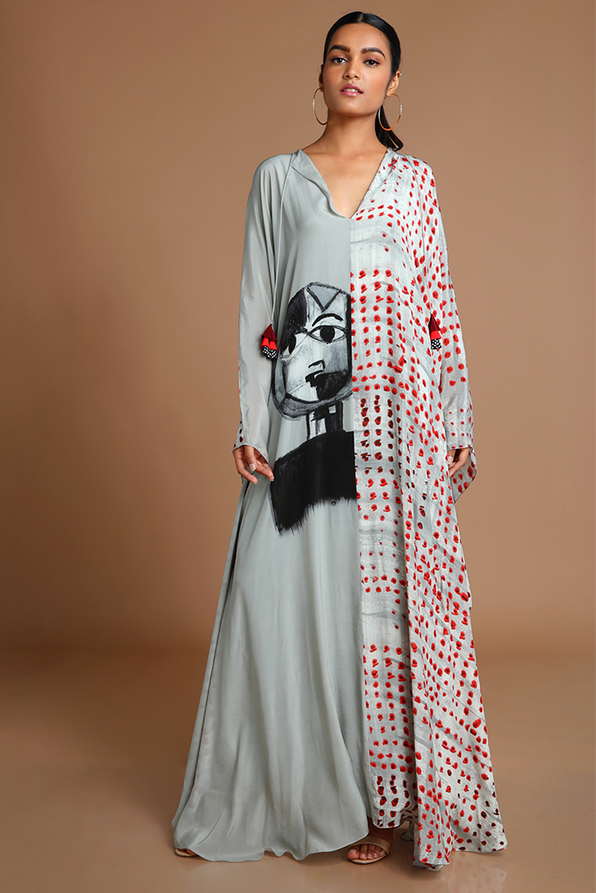 House of Masaba Gray Dot Printed Summer Kaftan