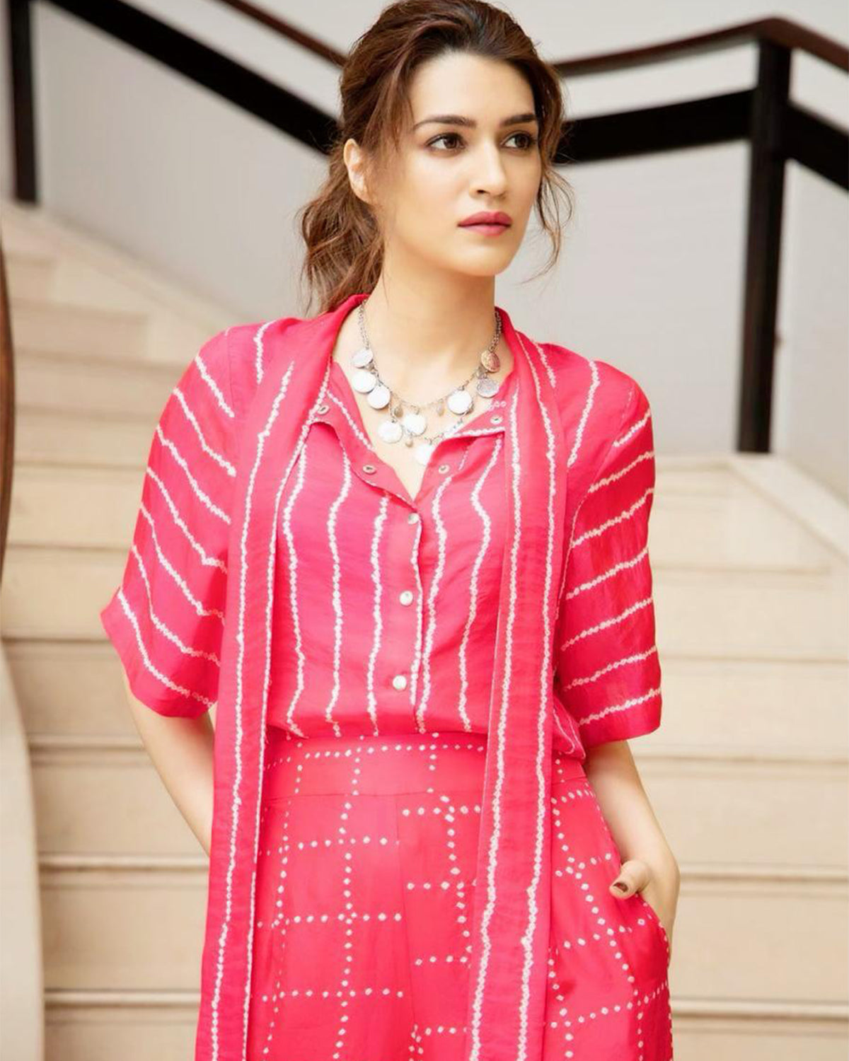 Bandhani Collar Shirt and Pleated Pant Set