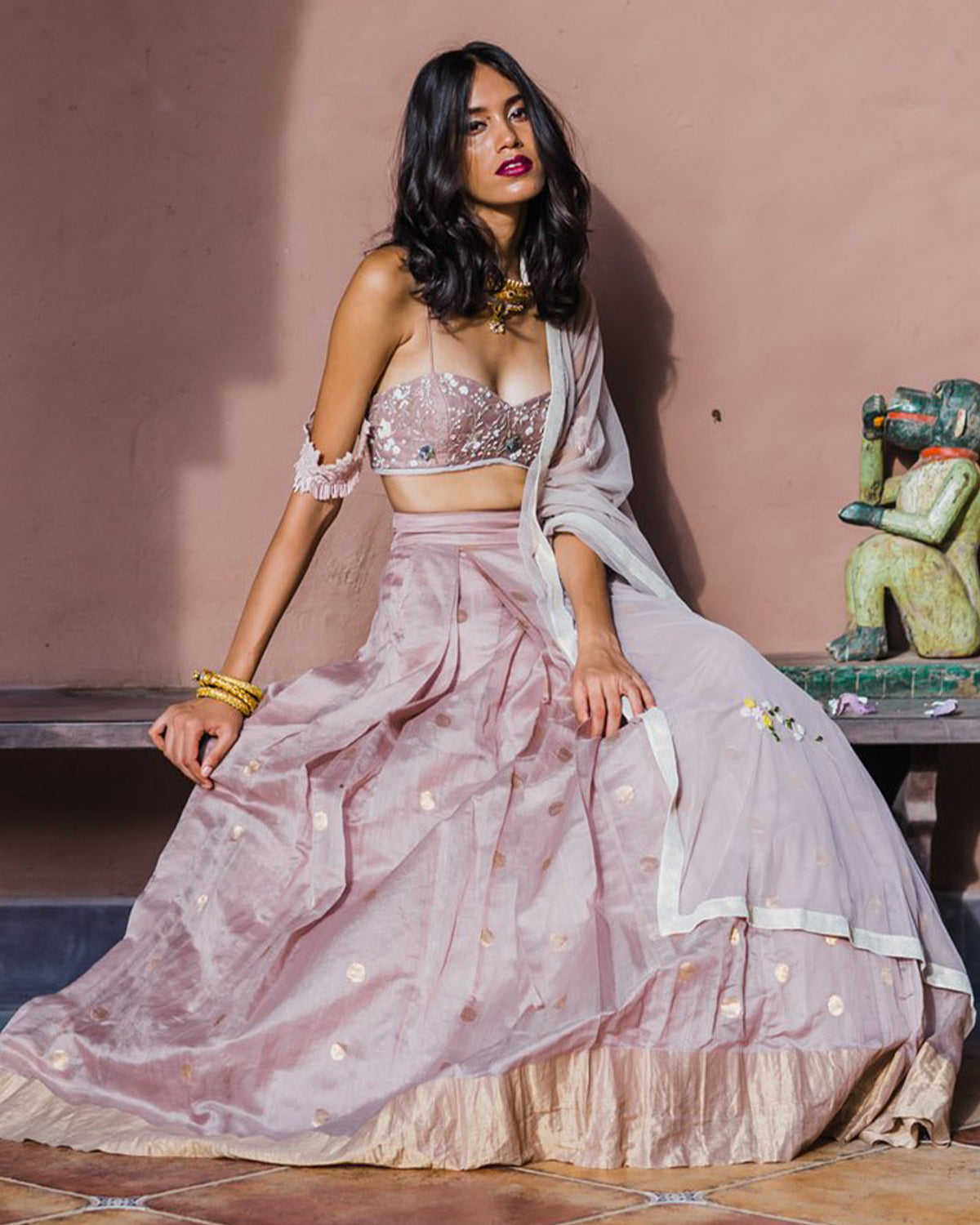 Lilacs and Polka Dots Lehenga