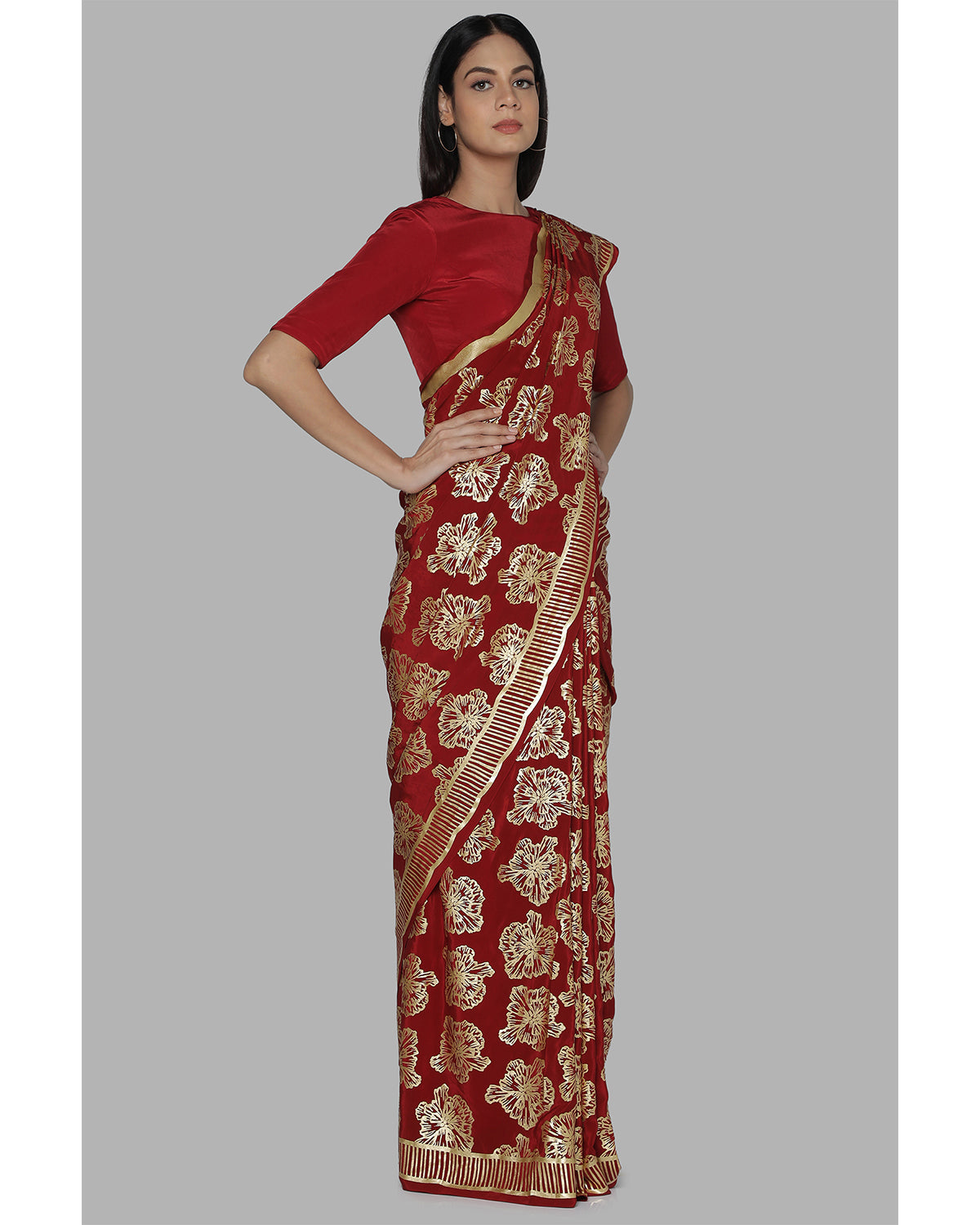 Maroon Full Bloom Foil Sari