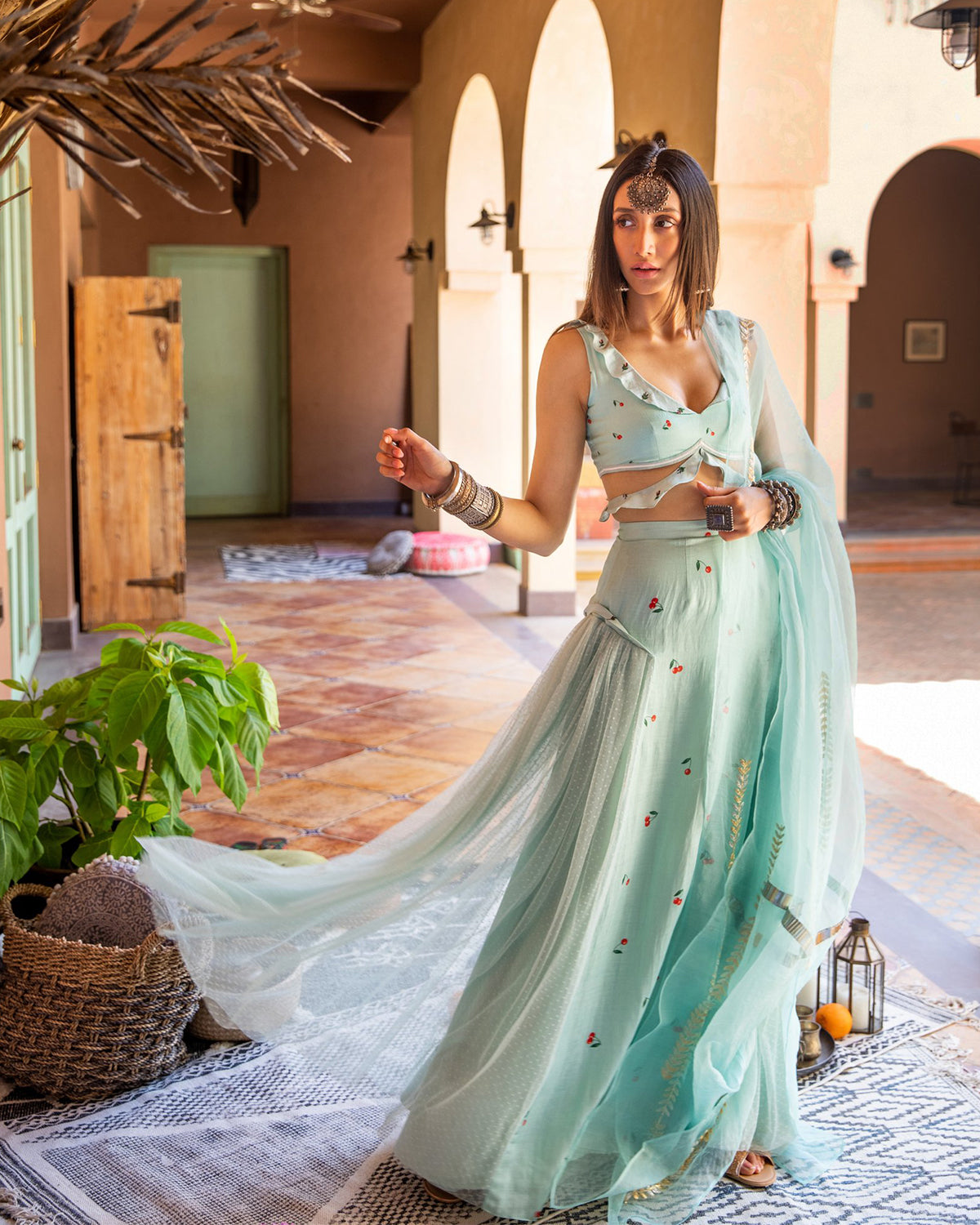Mint and Cherry Printed Lehenga