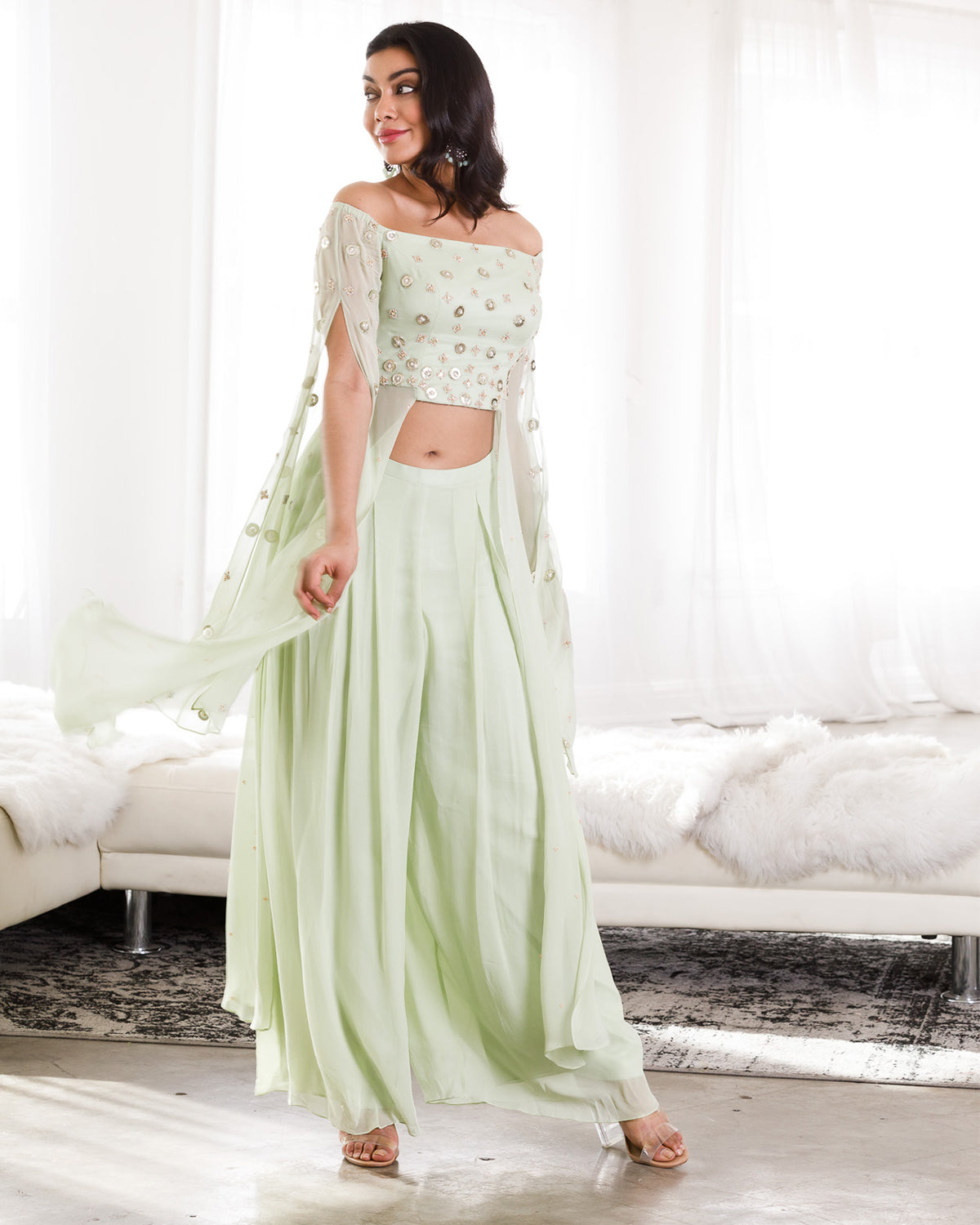 mint green indian outfit