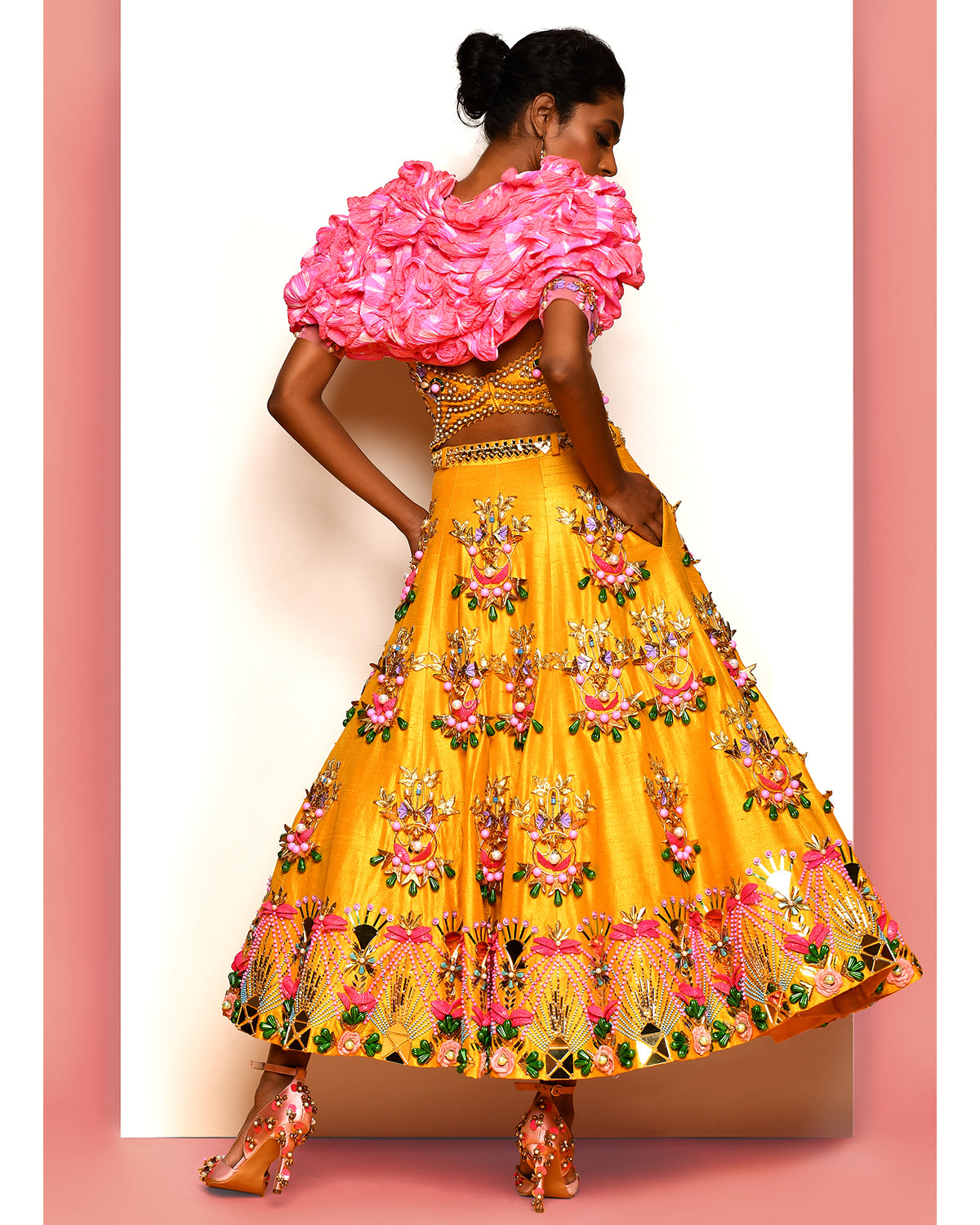 Yellow Papa Dont Peach Bridal Lehenga