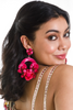 Bright Pink  Floral Clip On Earrings | KYNAH x Ranjana Khan