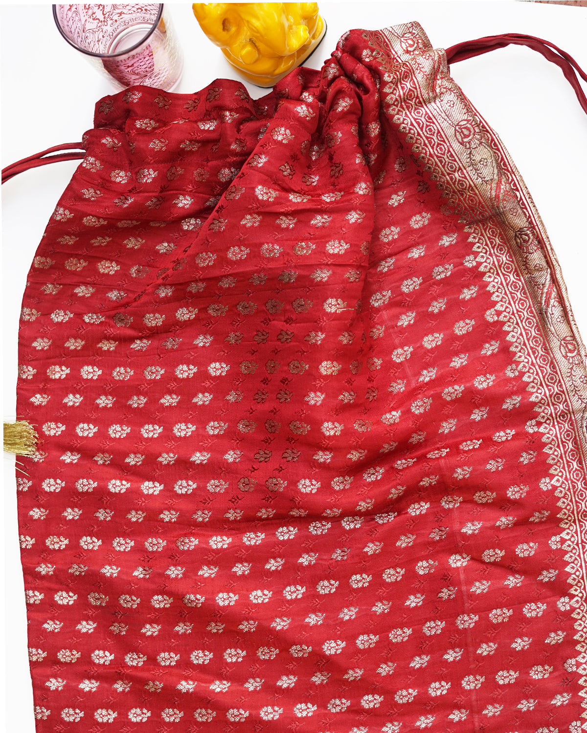 Saheli upcycled red sari bag